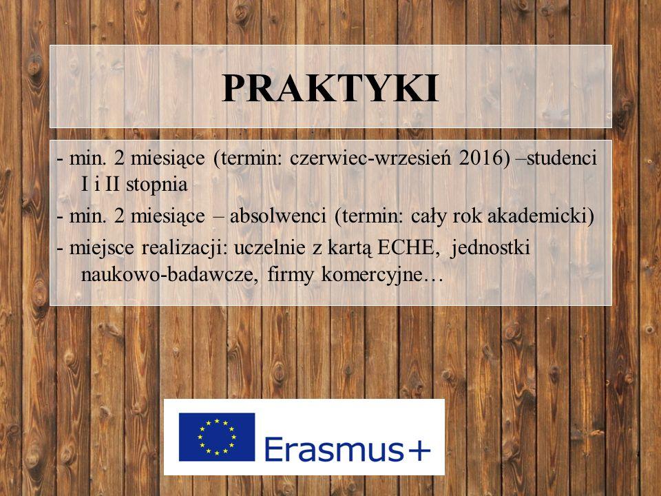 PRAKTYKI - min.2 miesiące (termin: czerwiec-wrzesień 2016) –studenci I i II stopnia - min.