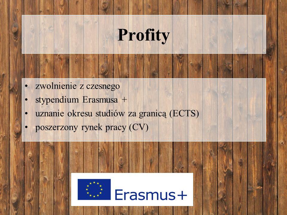 Profity zwolnienie z czesnego stypendium Erasmusa + uznanie okresu studiów za granicą (ECTS) poszerzony rynek pracy (CV)