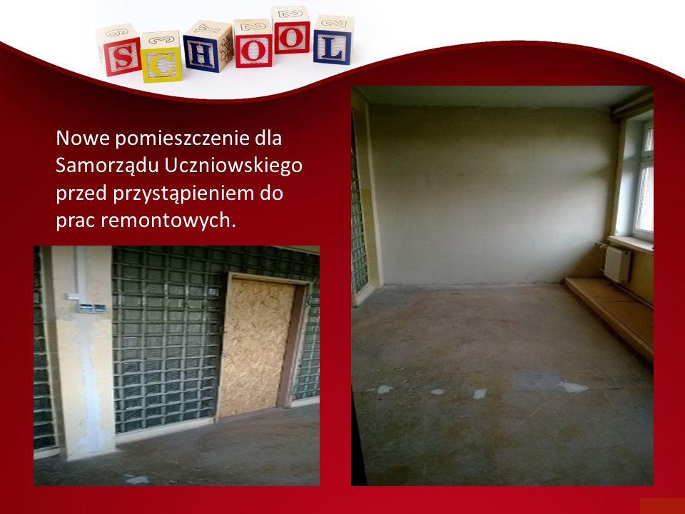 Nowe pomieszczenie dla Samorządu Uczniowskiego przed przystąpieniem do prac remontowych.