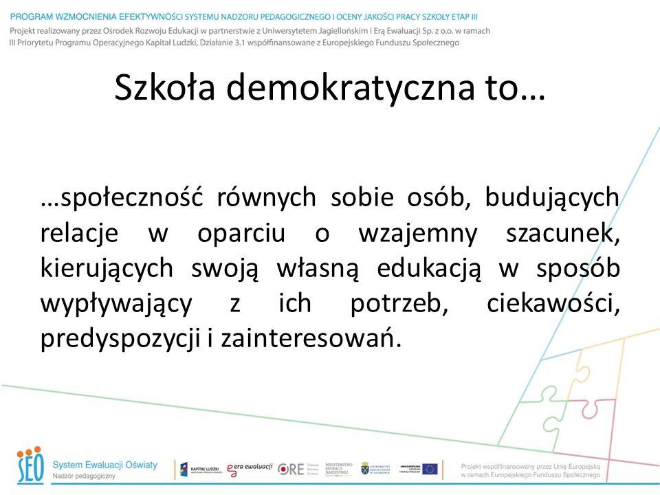 Filary edukacji demokratycznej Edukacja demokratyczna oparta jest na: współdecydowaniu wszystkich członków społeczności w sprawie szkoły oraz kierowaniu przez nich swoją własną edukacją.