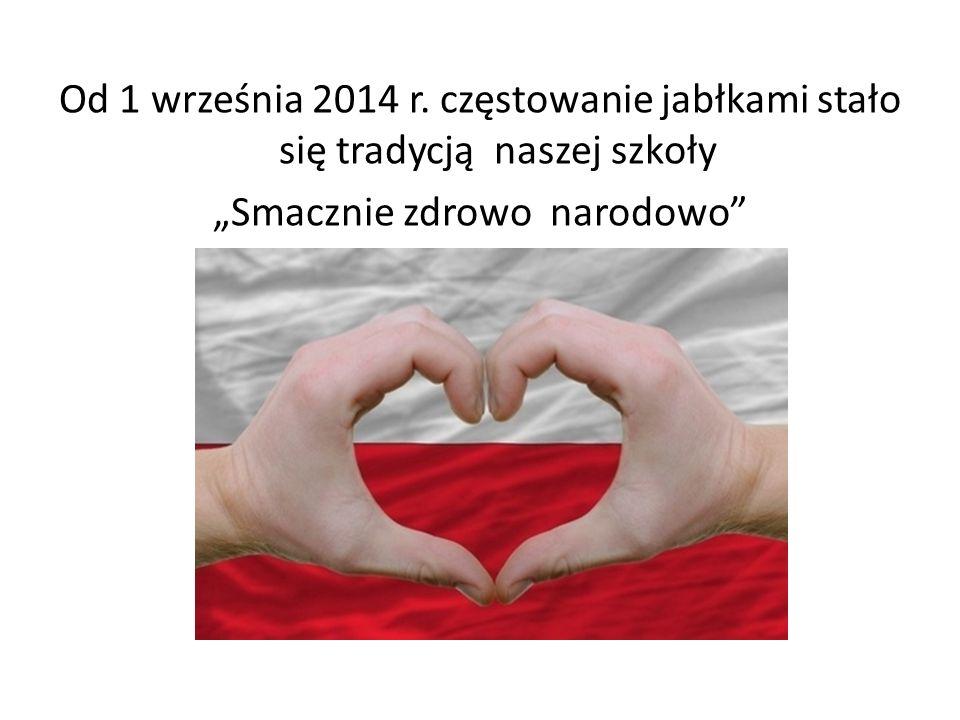 """Od 1 września 2014 r. częstowanie jabłkami stało się tradycją naszej szkoły """"Smacznie zdrowo narodowo"""""""