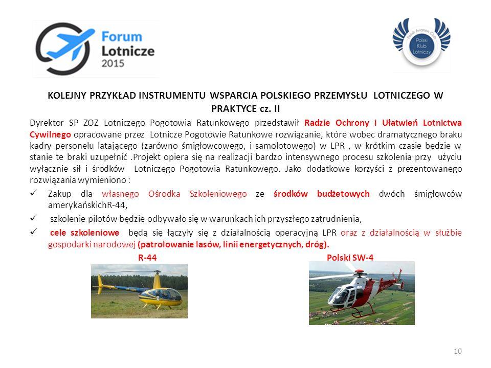 KOLEJNY PRZYKŁAD INSTRUMENTU WSPARCIA POLSKIEGO PRZEMYSŁU LOTNICZEGO W PRAKTYCE cz. II Dyrektor SP ZOZ Lotniczego Pogotowia Ratunkowego przedstawił Ra
