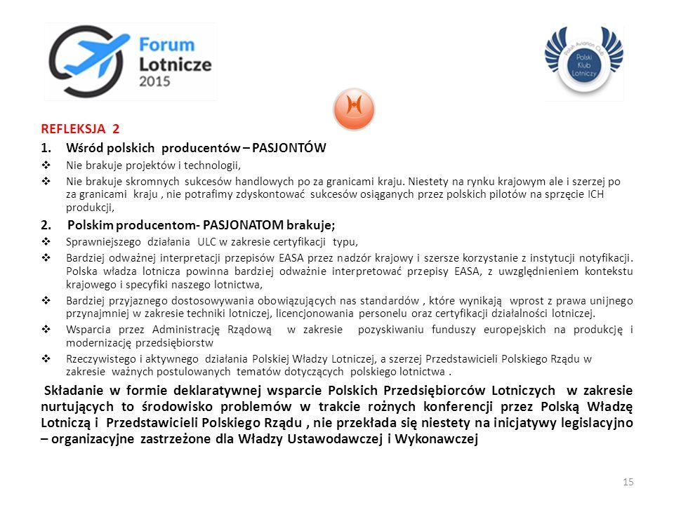 REFLEKSJA 2 1.Wśród polskich producentów – PASJONTÓW  Nie brakuje projektów i technologii,  Nie brakuje skromnych sukcesów handlowych po za granicam