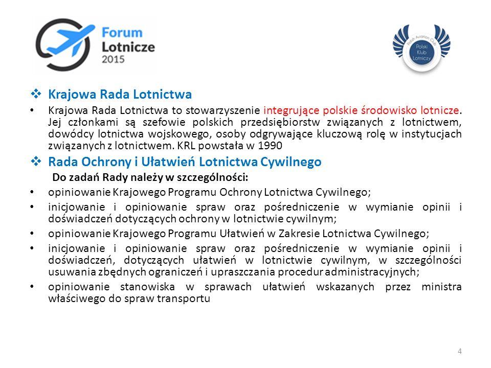 Krajowa Rada Lotnictwa Krajowa Rada Lotnictwa to stowarzyszenie integrujące polskie środowisko lotnicze. Jej członkami są szefowie polskich przedsię