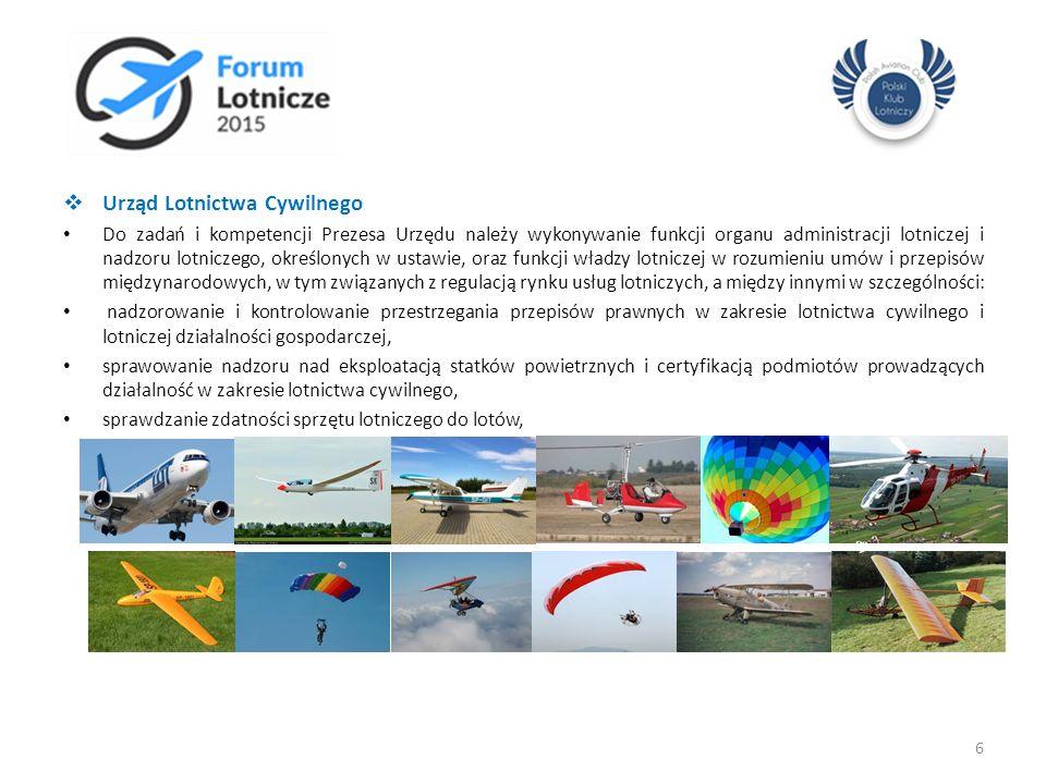  Urząd Lotnictwa Cywilnego Do zadań i kompetencji Prezesa Urzędu należy wykonywanie funkcji organu administracji lotniczej i nadzoru lotniczego, okre