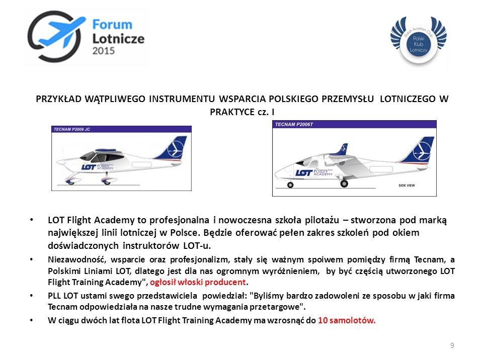 PRZYKŁAD WĄTPLIWEGO INSTRUMENTU WSPARCIA POLSKIEGO PRZEMYSŁU LOTNICZEGO W PRAKTYCE cz. I LOT Flight Academy to profesjonalna i nowoczesna szkoła pilot