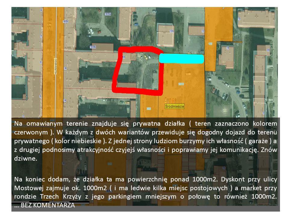 Na omawianym terenie znajduje się prywatna działka ( teren zaznaczono kolorem czerwonym ).