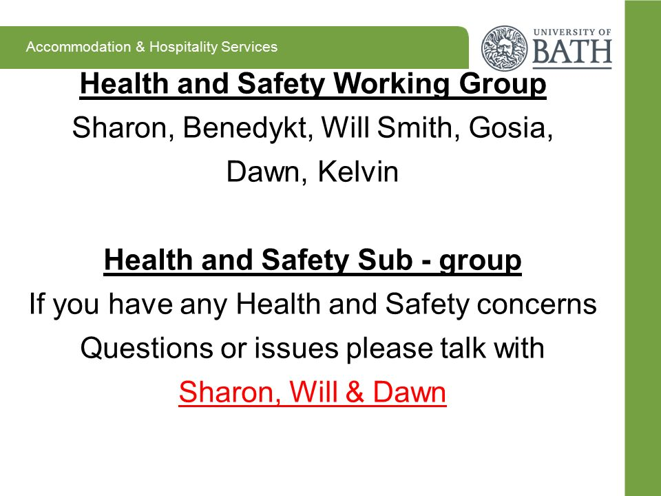 Health and Safety Working Group Sharon, Benedykt, Will Smith, Gosia, Dawn, Kelvin Health and Safety Sub - group If you have any Health and Safety conc