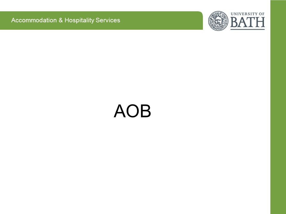 Accommodation & Hospitality Services AOB