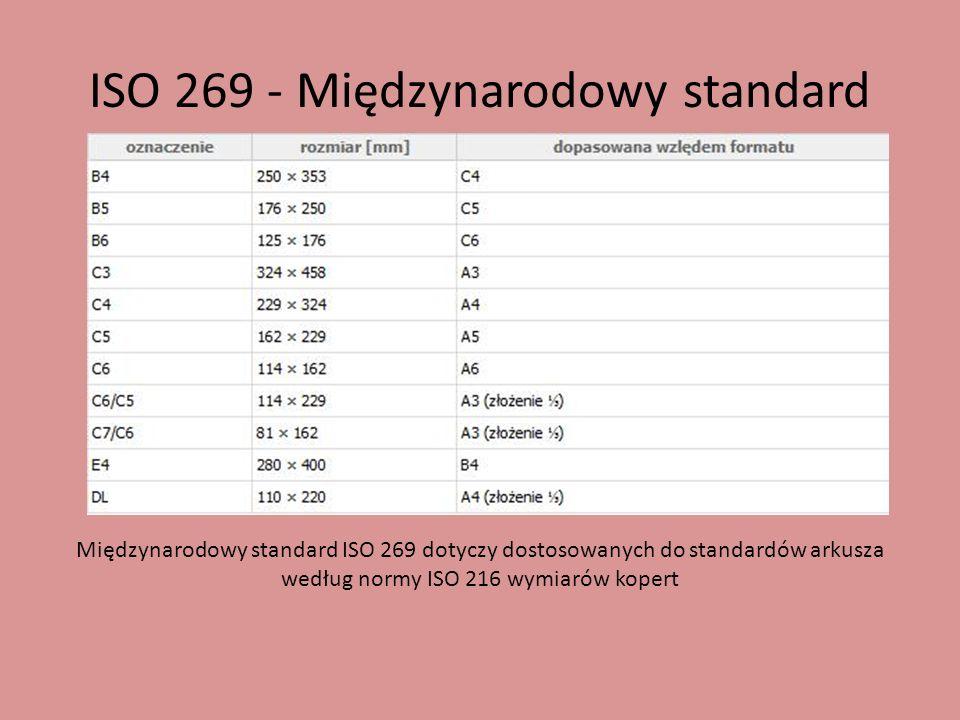 ISO 269 - Międzynarodowy standard Międzynarodowy standard ISO 269 dotyczy dostosowanych do standardów arkusza według normy ISO 216 wymiarów kopert