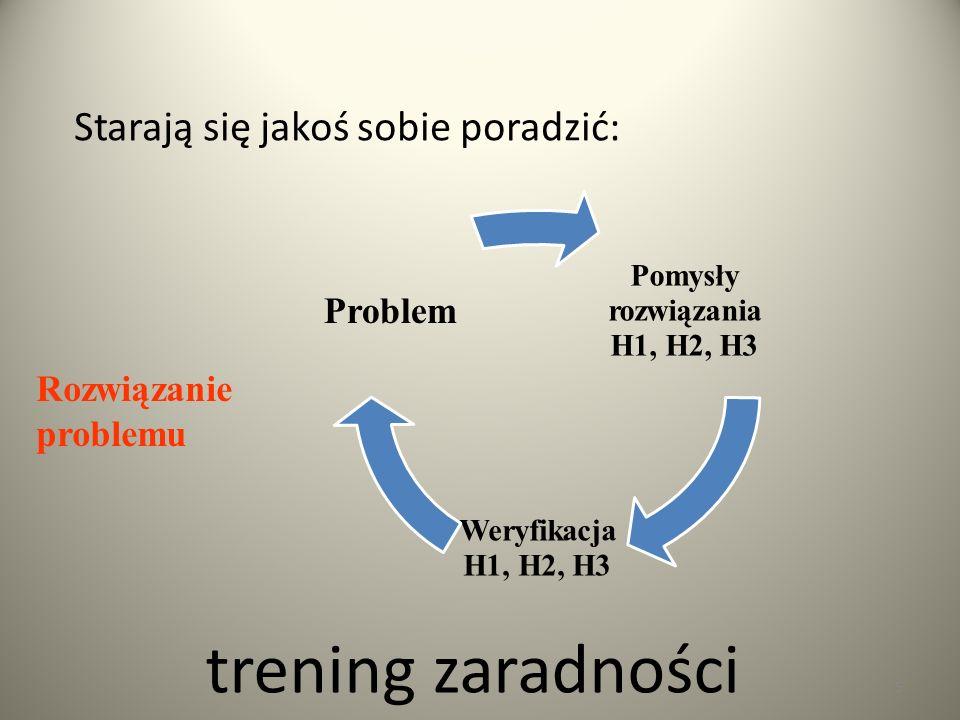 trening zaradności Pomysły rozwiązania H1, H2, H3 Weryfikacja H1, H2, H3 Problem 5 Rozwiązanie problemu Starają się jakoś sobie poradzić: