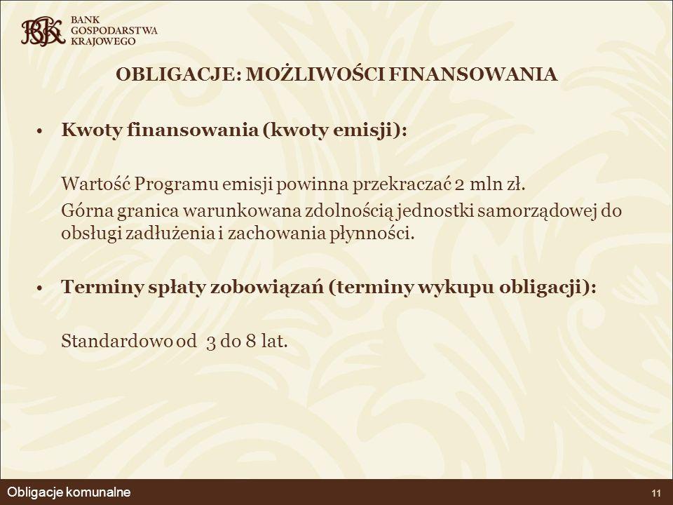 11 OBLIGACJE: MOŻLIWOŚCI FINANSOWANIA Kwoty finansowania (kwoty emisji): Wartość Programu emisji powinna przekraczać 2 mln zł. Górna granica warunkowa
