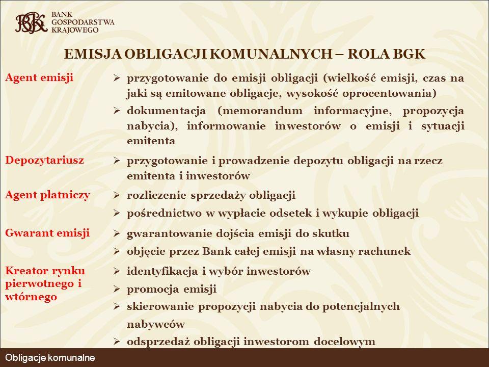 EMISJA OBLIGACJI KOMUNALNYCH – ROLA BGK Agent emisji  przygotowanie do emisji obligacji (wielkość emisji, czas na jaki są emitowane obligacje, wysoko