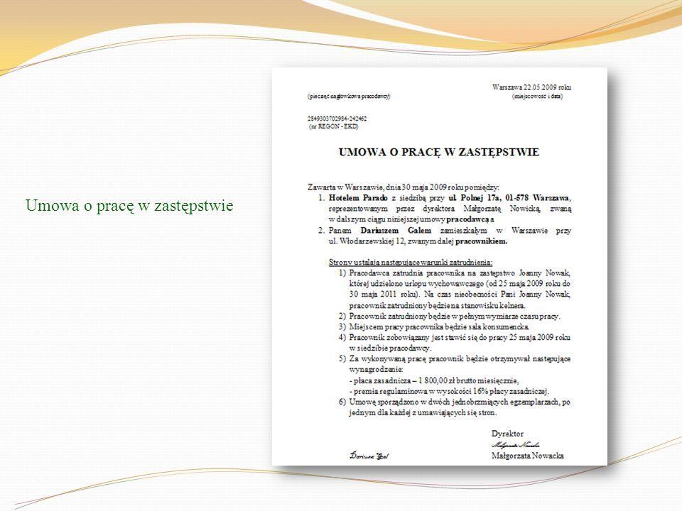 Umowa o pracę w zastępstwie