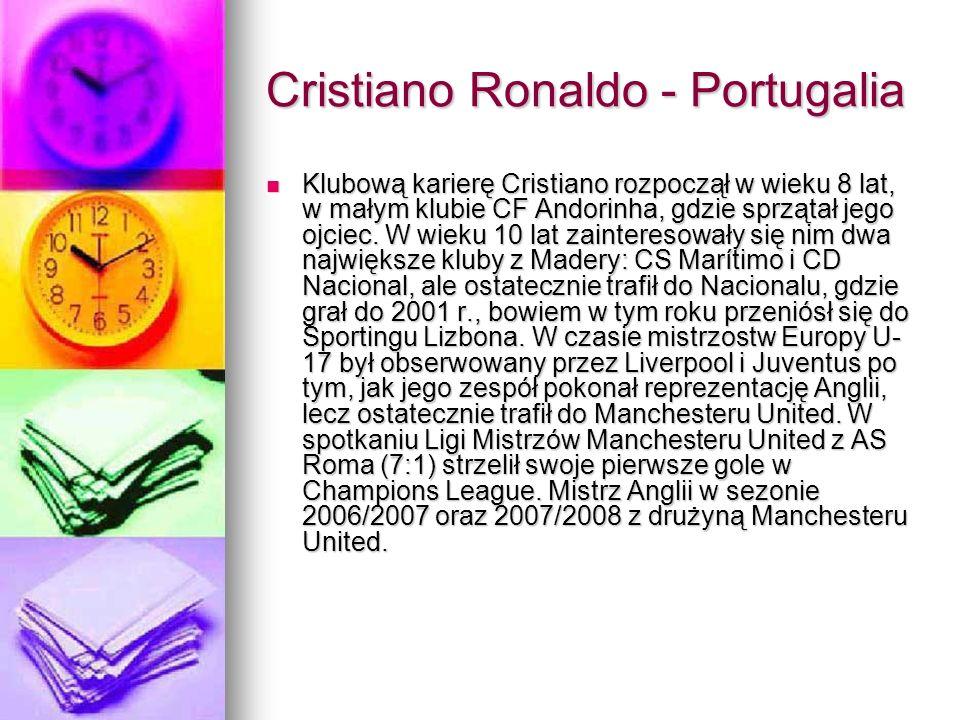 Cristiano Ronaldo - Portugalia Klubową karierę Cristiano rozpoczął w wieku 8 lat, w małym klubie CF Andorinha, gdzie sprzątał jego ojciec. W wieku 10