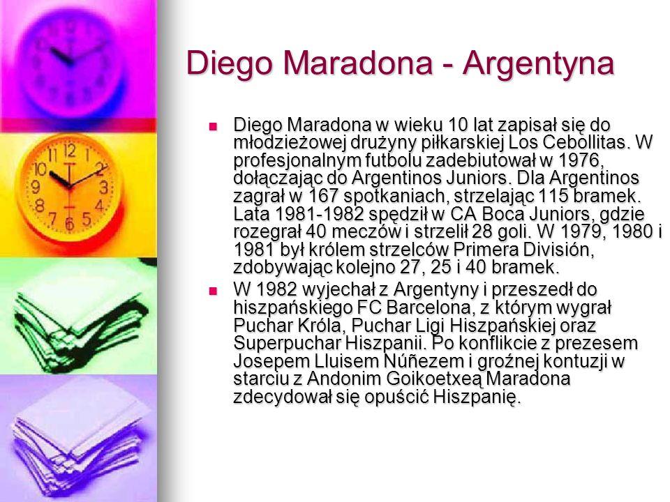 Diego Maradona - Argentyna Diego Maradona w wieku 10 lat zapisał się do młodzieżowej drużyny piłkarskiej Los Cebollitas. W profesjonalnym futbolu zade