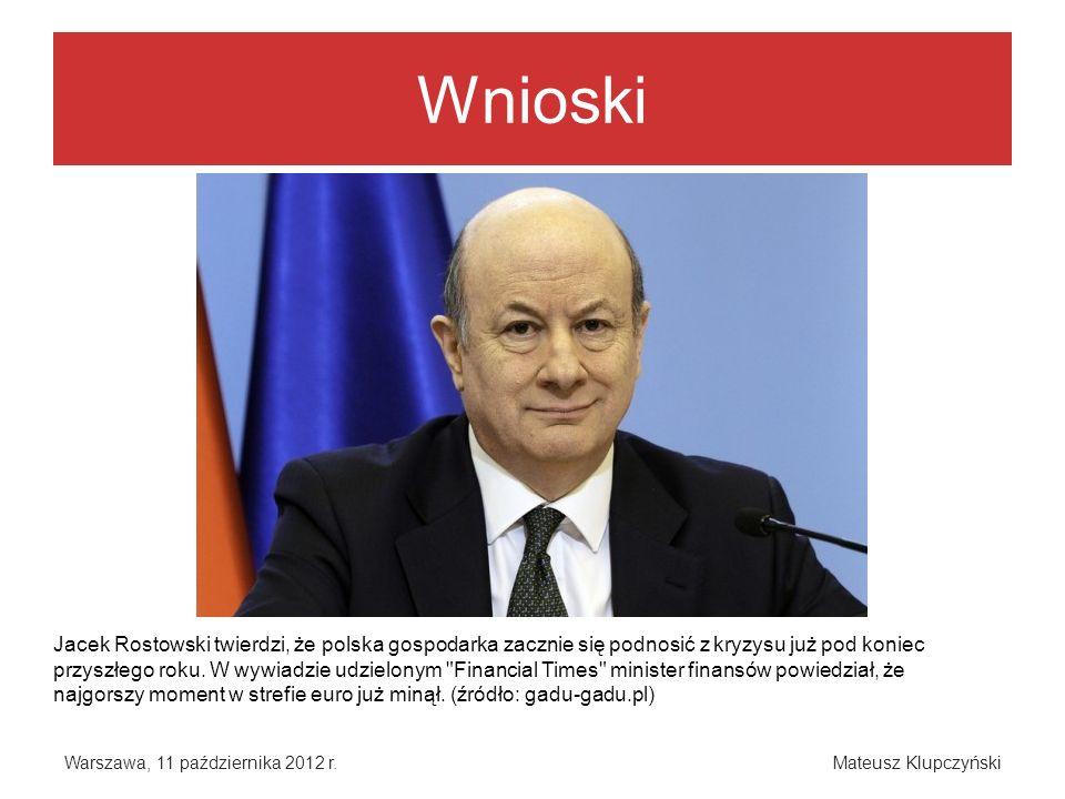 Wnioski Warszawa, 11 października 2012 r.Mateusz Klupczyński Jacek Rostowski twierdzi, że polska gospodarka zacznie się podnosić z kryzysu już pod kon