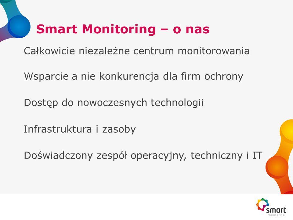 Smart Monitoring – o nas Całkowicie niezależne centrum monitorowania Wsparcie a nie konkurencja dla firm ochrony Dostęp do nowoczesnych technologii In