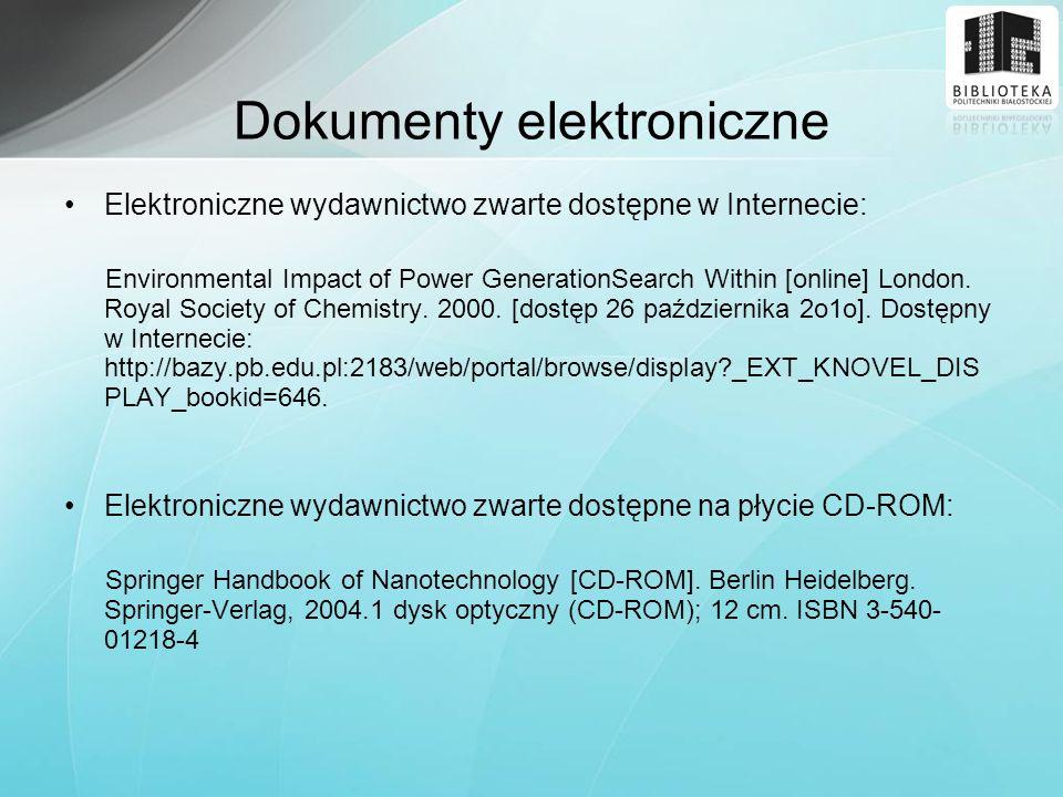Elektroniczne wydawnictwo zwarte dostępne w Internecie: Environmental Impact of Power GenerationSearch Within [online] London. Royal Society of Chemis