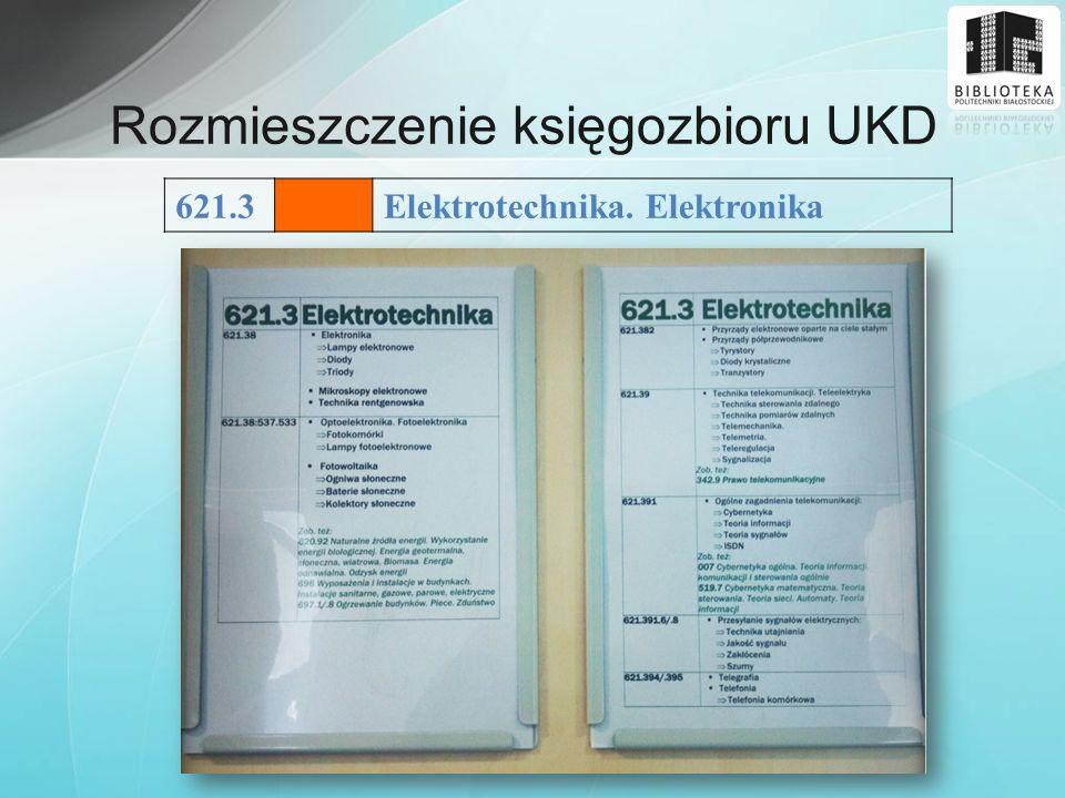 Rozmieszczenie księgozbioru UKD 621.3Elektrotechnika. Elektronika