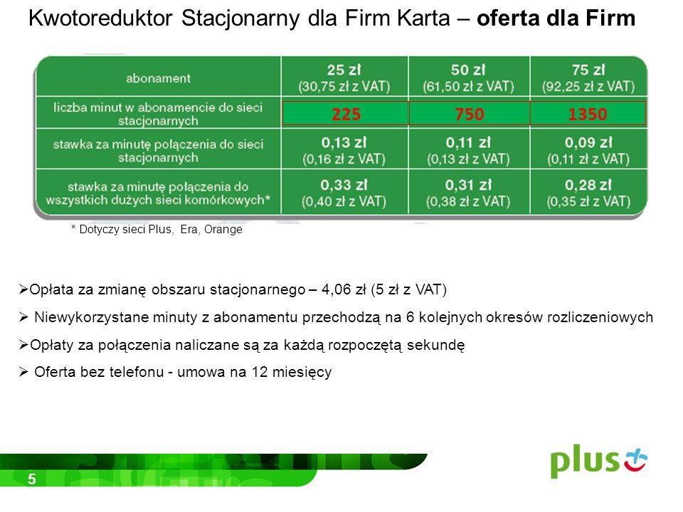 5 * Dotyczy sieci Plus, Era, Orange  Opłata za zmianę obszaru stacjonarnego – 4,06 zł (5 zł z VAT)  Niewykorzystane minuty z abonamentu przechodzą na 6 kolejnych okresów rozliczeniowych  Opłaty za połączenia naliczane są za każdą rozpoczętą sekundę  Oferta bez telefonu - umowa na 12 miesięcy 2257501350 Kwotoreduktor Stacjonarny dla Firm Karta – oferta dla Firm