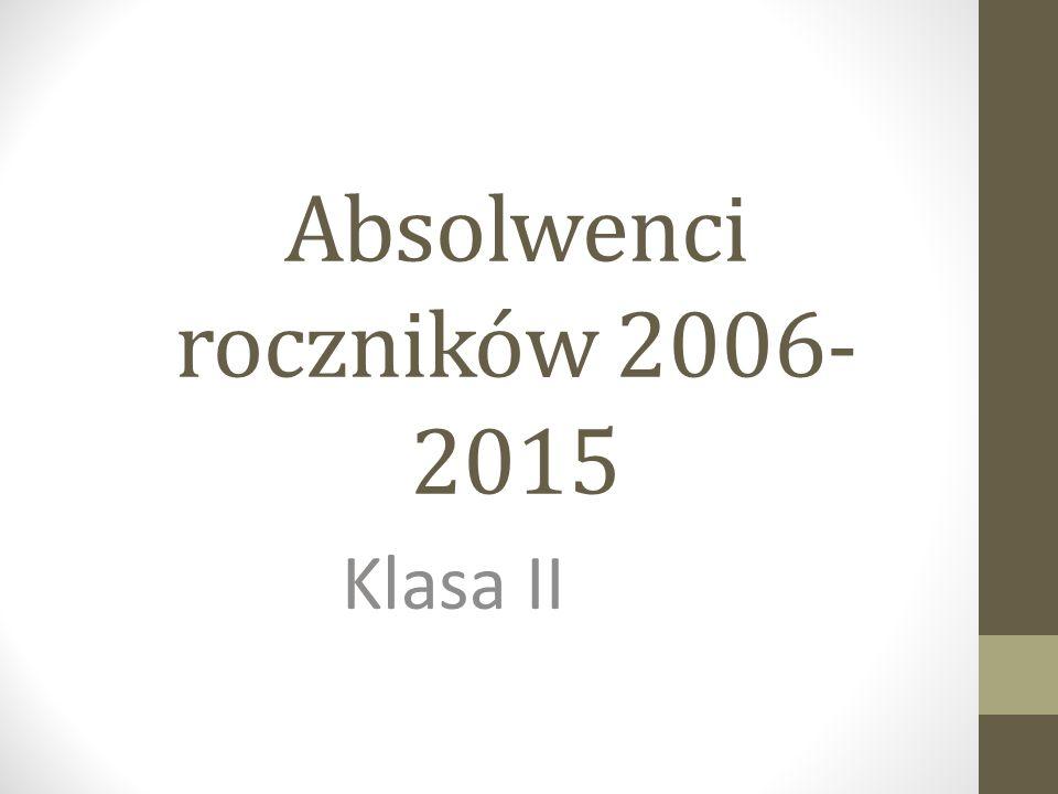 Absolwenci roczników 2006- 2015 Klasa II
