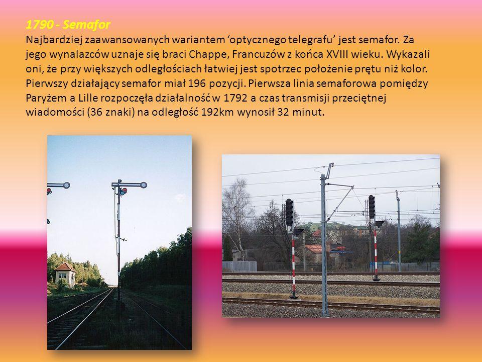 1790 - Semafor Najbardziej zaawansowanych wariantem 'optycznego telegrafu' jest semafor. Za jego wynalazców uznaje się braci Chappe, Francuzów z końca