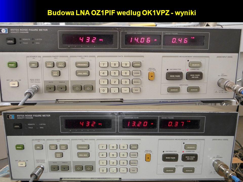 Budowa LNA OZ1PIF wedlug OK1VPZ - wyniki
