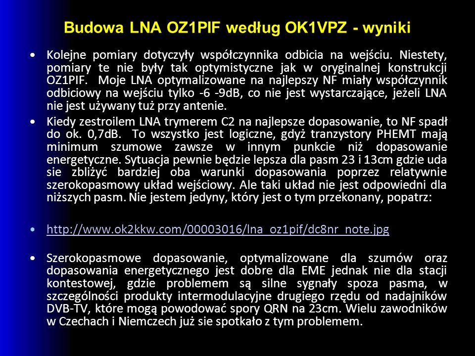 Budowa LNA OZ1PIF według OK1VPZ - wyniki Kolejne pomiary dotyczyły współczynnika odbicia na wejściu.