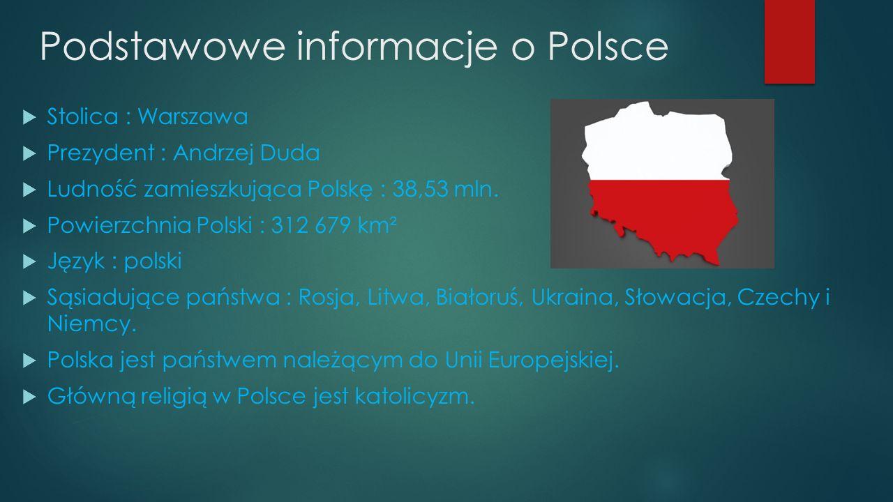 Podstawowe informacje o Polsce  Stolica : Warszawa  Prezydent : Andrzej Duda  Ludność zamieszkująca Polskę : 38,53 mln.