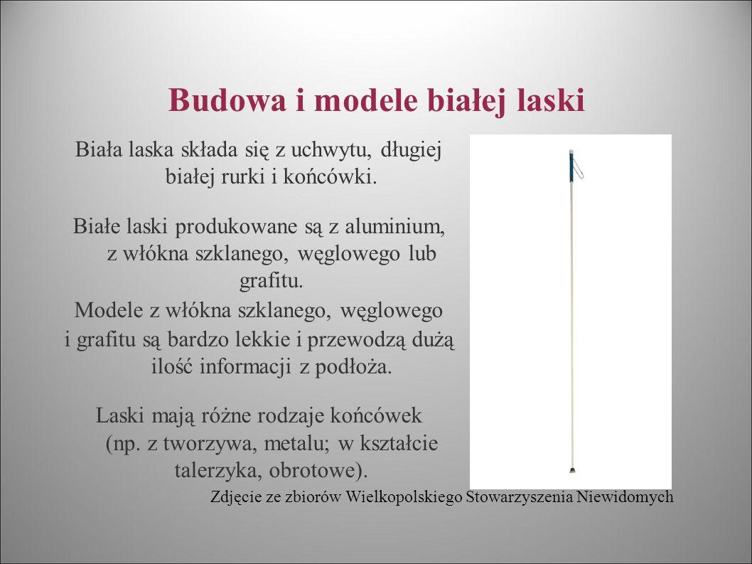 Budowa i modele białej laski Istnieją dwa podstawowe modele białej laski: ← laski jednolite, tzw.