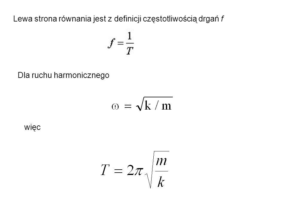 Lewa strona równania jest z definicji częstotliwością drgań f Dla ruchu harmonicznego więc