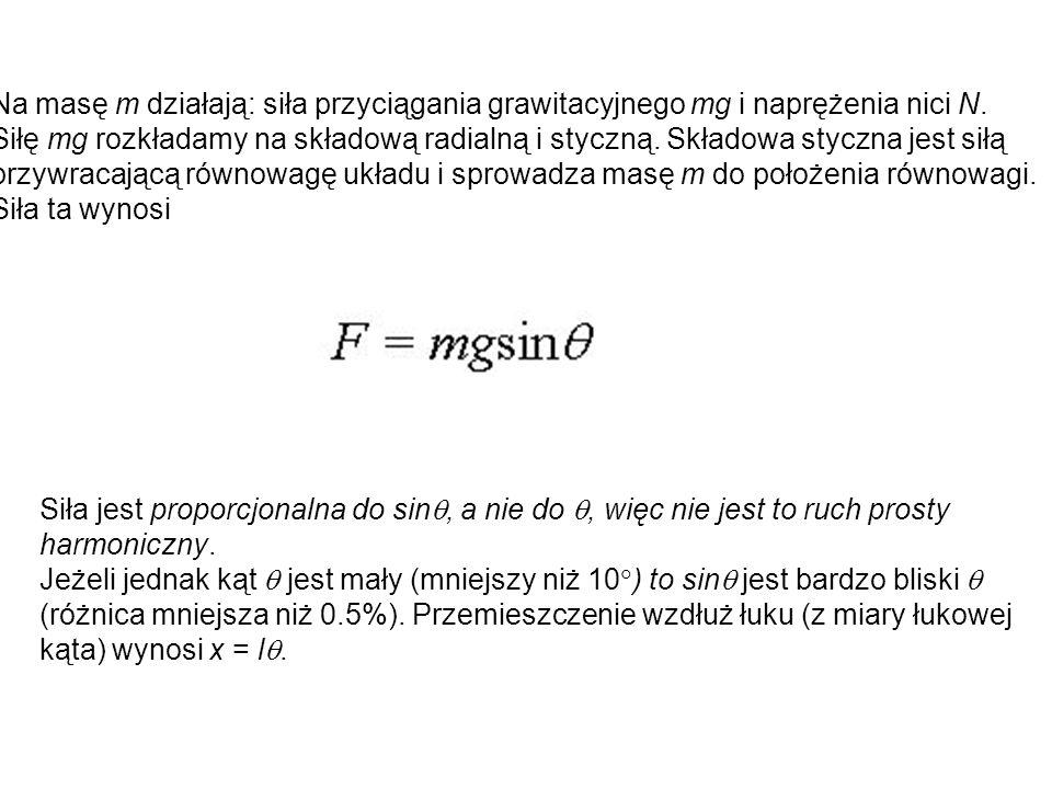 Na masę m działają: siła przyciągania grawitacyjnego mg i naprężenia nici N. Siłę mg rozkładamy na składową radialną i styczną. Składowa styczna jest