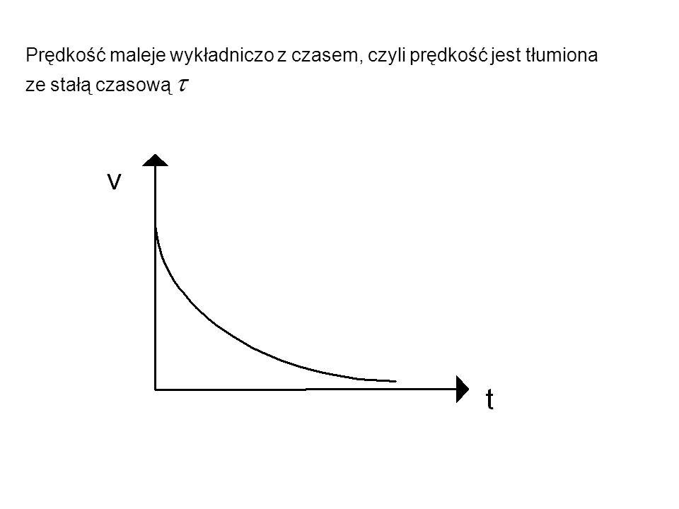 Prędkość maleje wykładniczo z czasem, czyli prędkość jest tłumiona ze stałą czasową 