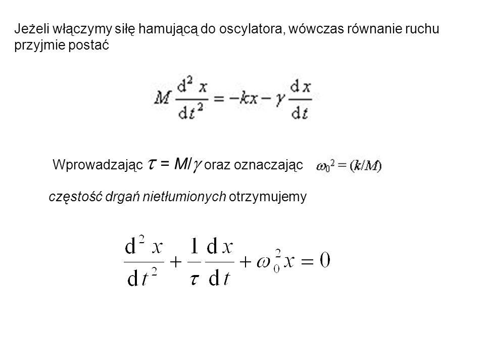 Jeżeli włączymy siłę hamującą do oscylatora, wówczas równanie ruchu przyjmie postać Wprowadzając  = M/  oraz oznaczając częstość drgań nietłumionych