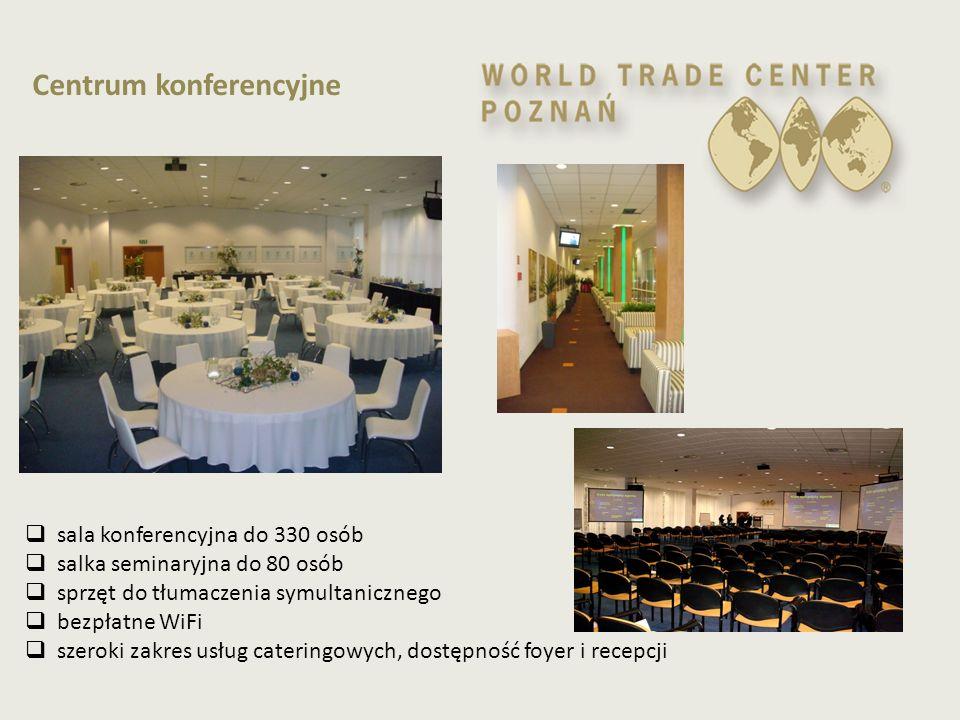 Centrum konferencyjne  sala konferencyjna do 330 osób  salka seminaryjna do 80 osób  sprzęt do tłumaczenia symultanicznego  bezpłatne WiFi  szero