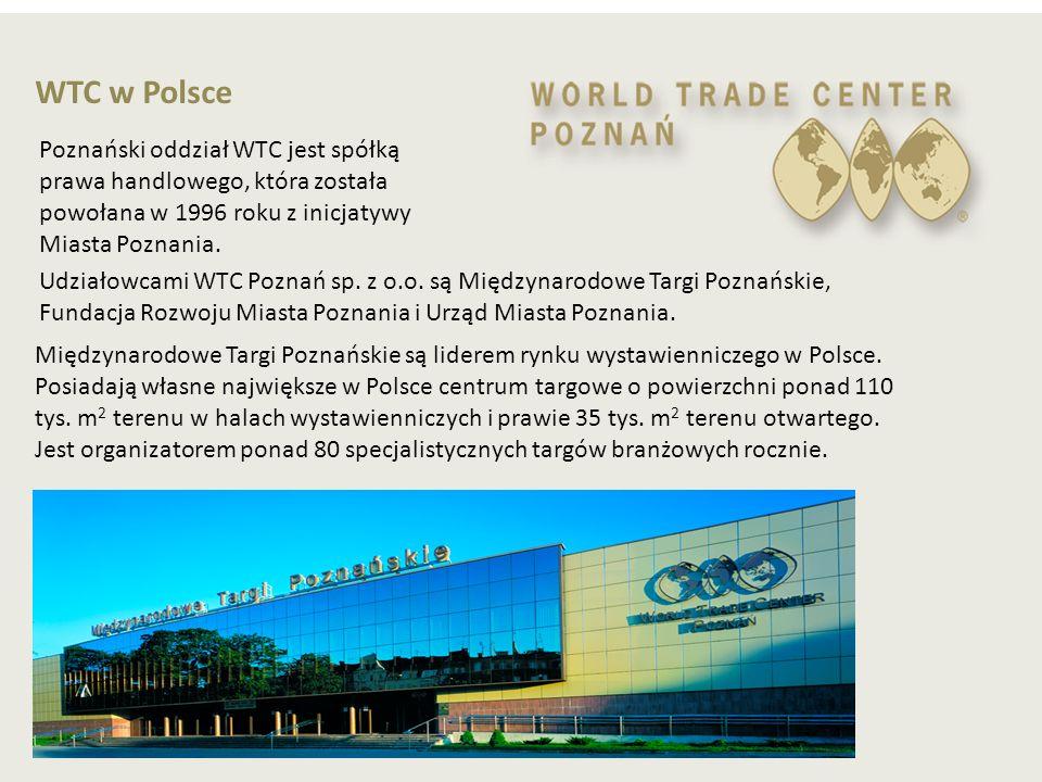 WTC w Polsce Poznański oddział WTC jest spółką prawa handlowego, która została powołana w 1996 roku z inicjatywy Miasta Poznania. Udziałowcami WTC Poz
