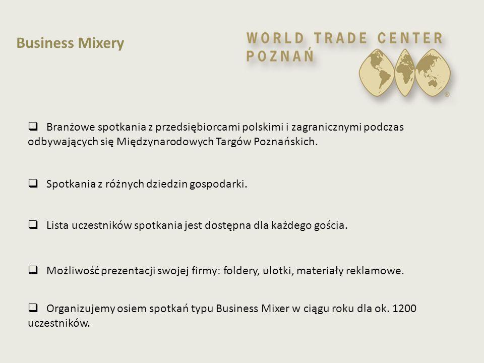  przesłanie oferty handlowej do biur WTCA w wybranym regionie świata  nawiązywanie kontaktów międzynarodowych za pośrednictwem sieci oddziałów WTC, WPHI polskich placówek zagranicznych, agencji rządowymi, ambasad akredytowanych w Polsce, izb, stowarzyszeń  rozwijanie międzynarodowych stosunków handlowych poprzez handlowe oferty i opracowania, które WTC Poznań regularnie przedstawia  Dostępność do baz danych, mailing, newsletter informacyjny  możliwość prezentacji ulotek informacyjnych i folderów  wynajem pomieszczeń konferencyjnych WTC Poznań z 25% rabatem  korzystanie z innych usług WTC Poznań oraz innych członków z rabatem  umieszczenie logo oraz linku na stronie WTC Poznań  udział w spotkaniach członków organizowanych przez Klub WTC Poznań (Business Mixery, przyjęcia biznesowe, konferencje, itp.)  udział w organizacji misji handlowych  bezpłatny udział w regularnych seminariach, wykładach organizowanych przez WTC Poznań Klub WTC