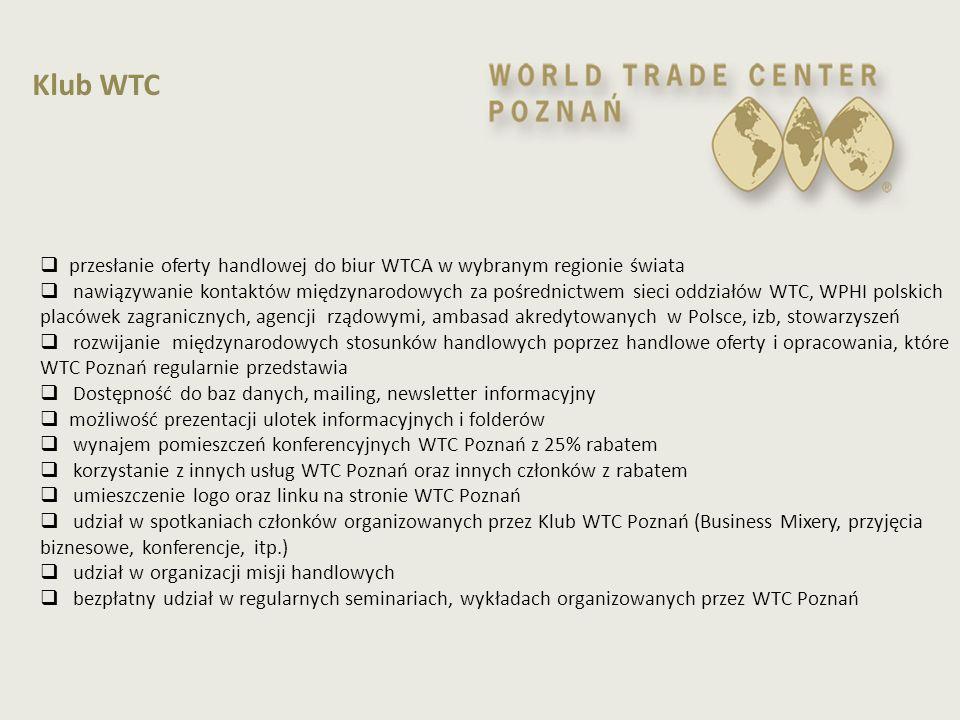  przesłanie oferty handlowej do biur WTCA w wybranym regionie świata  nawiązywanie kontaktów międzynarodowych za pośrednictwem sieci oddziałów WTC,