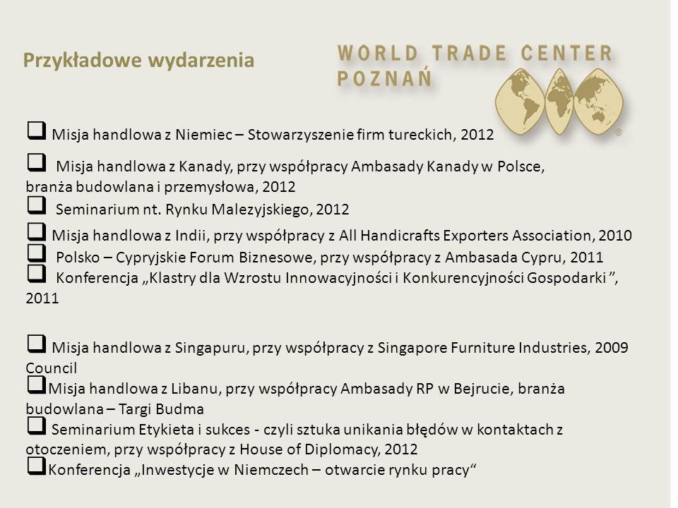 Przykładowe wydarzenia  Seminarium nt. Rynku Malezyjskiego, 2012  Misja handlowa z Kanady, przy współpracy Ambasady Kanady w Polsce, branża budowlan