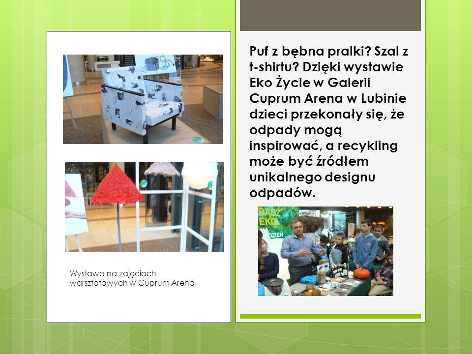 Uczniowie klasy V na warsztatach ekologicznych w Cuprum Arena w Lubinie Na zajęciach warsztatowych dzieci przekonały się, że można wykonać wiele ciekawych rzeczy z materiałów z recyklingu.