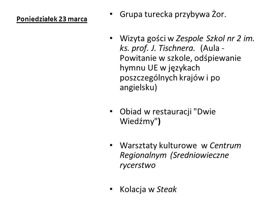 Poniedziałek 23 marca Grupa turecka przybywa Żor.Wizyta gości w Zespole Szkol nr 2 im.