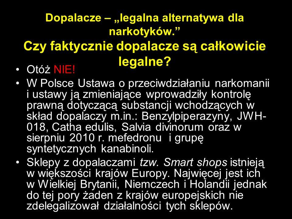 """Dopalacze – """"legalna alternatywa dla narkotyków."""" Czy faktycznie dopalacze są całkowicie legalne? Otóż NIE! W Polsce Ustawa o przeciwdziałaniu narkoma"""