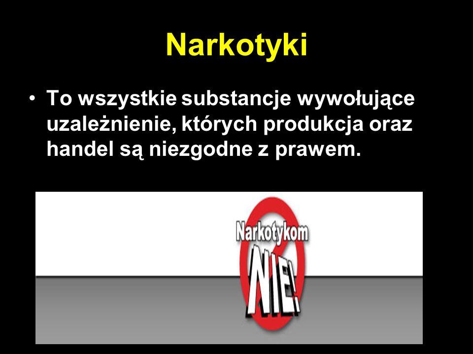 Narkotyki To wszystkie substancje wywołujące uzależnienie, których produkcja oraz handel są niezgodne z prawem.