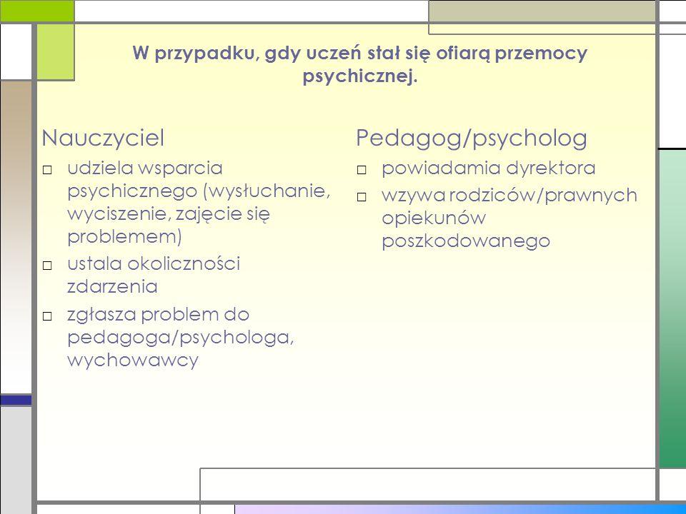 W przypadku, gdy uczeń stał się ofiarą przemocy psychicznej. Nauczyciel □udziela wsparcia psychicznego (wysłuchanie, wyciszenie, zajęcie się problemem