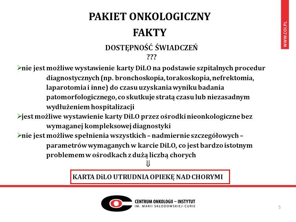 PAKIET ONKOLOGICZNY FAKTY 5  nie jest możliwe wystawienie karty DiLO na podstawie szpitalnych procedur diagnostycznych (np. bronchoskopia, torakoskop