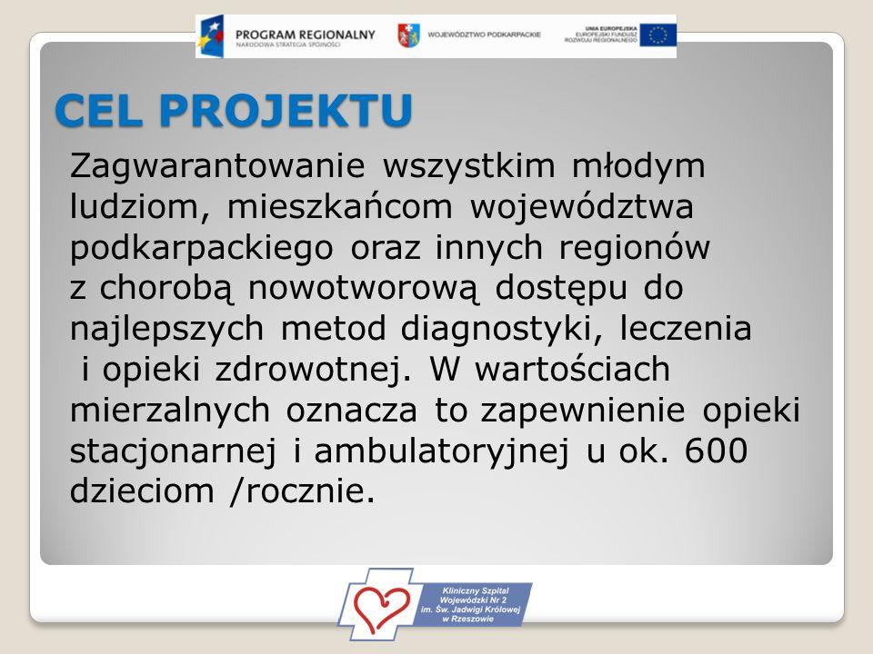 CEL PROJEKTU Zagwarantowanie wszystkim młodym ludziom, mieszkańcom województwa podkarpackiego oraz innych regionów z chorobą nowotworową dostępu do najlepszych metod diagnostyki, leczenia i opieki zdrowotnej.