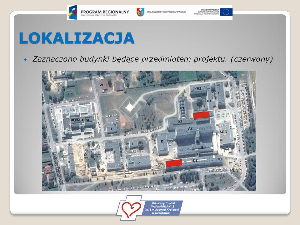 LOKALIZACJA Zaznaczono budynki będące przedmiotem projektu. (czerwony)