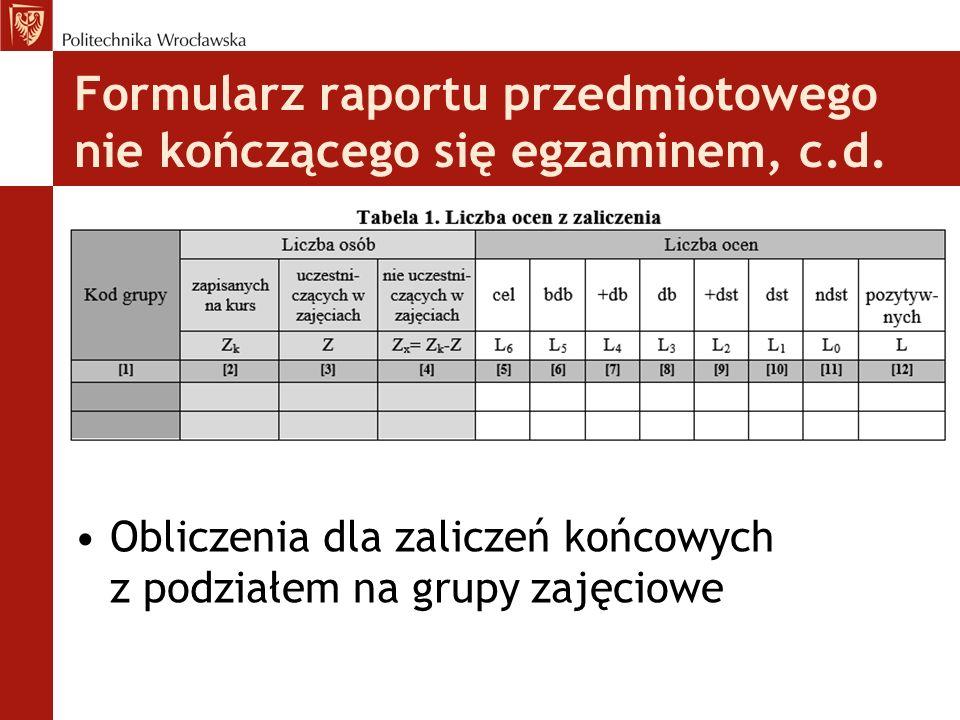Formularz raportu przedmiotowego nie kończącego się egzaminem, c.d. Obliczenia dla zaliczeń końcowych z podziałem na grupy zajęciowe