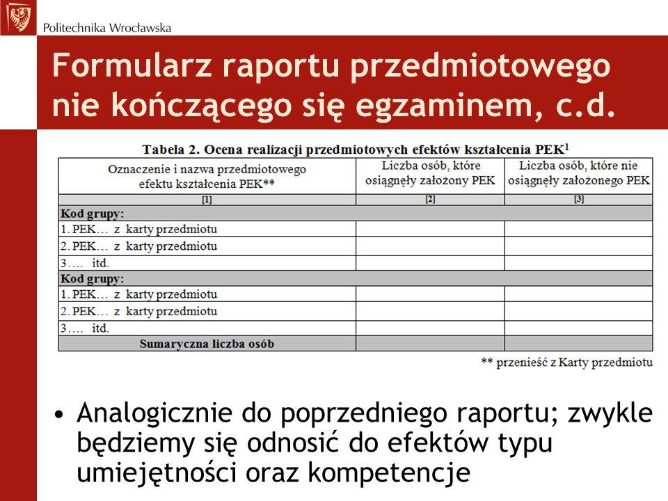 Formularz raportu przedmiotowego nie kończącego się egzaminem, c.d. Analogicznie do poprzedniego raportu; zwykle będziemy się odnosić do efektów typu
